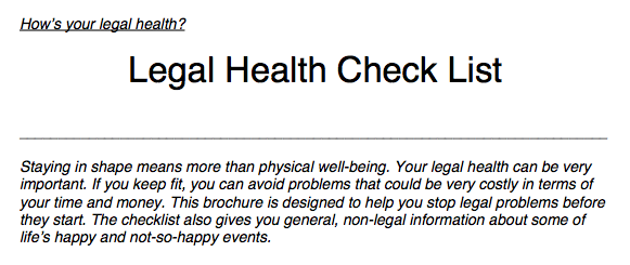 Legal Health Checklist 2
