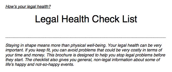 Legal Health Checklist 2