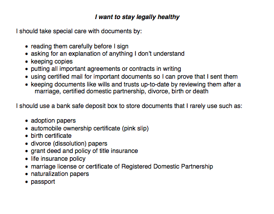 Legal Health Checklist - I want to stay legally healthy