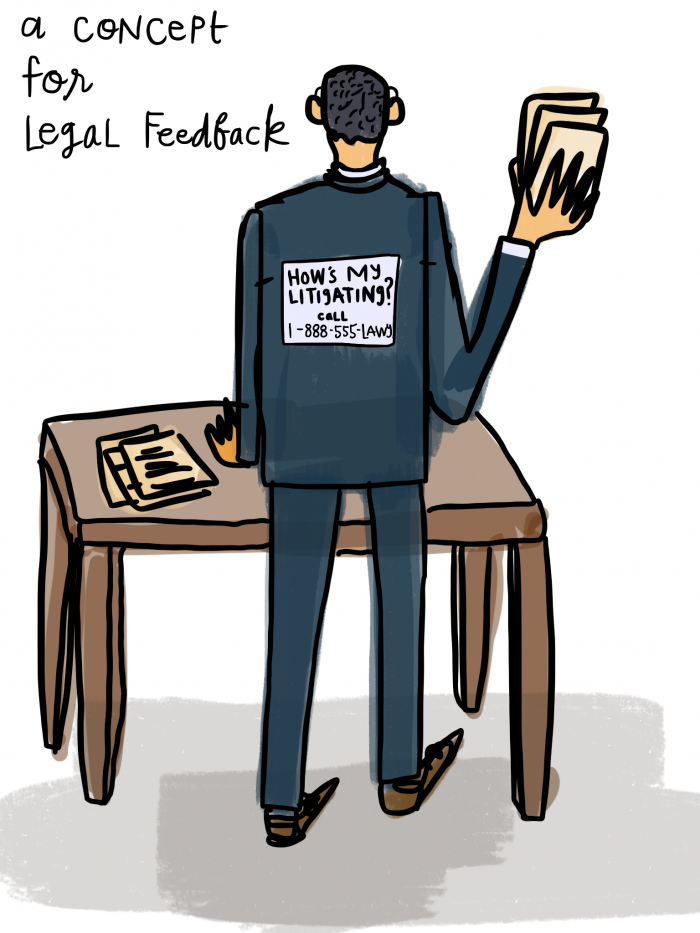 Legal Design Concept - hows my litigating sticker