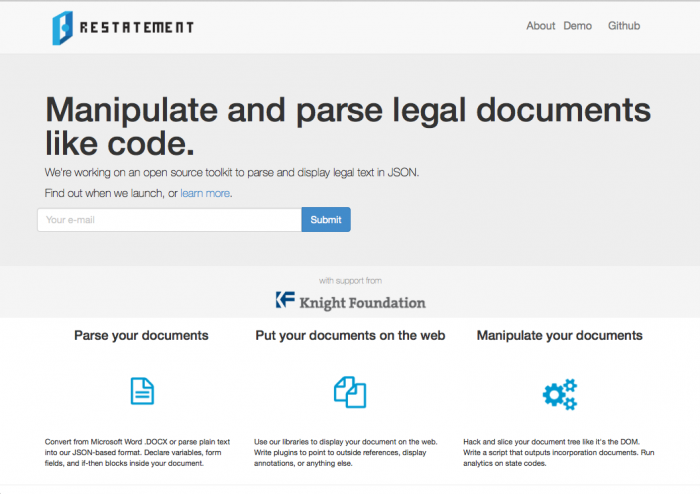 Open Law Lab - Github for Law - Restatement 1
