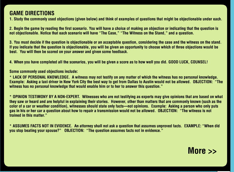 Game Design - Legal Games - Texas LEgal Education - Evidence game Objection your honor Screen Shot 2014-10-20 at 4.03.24 PM