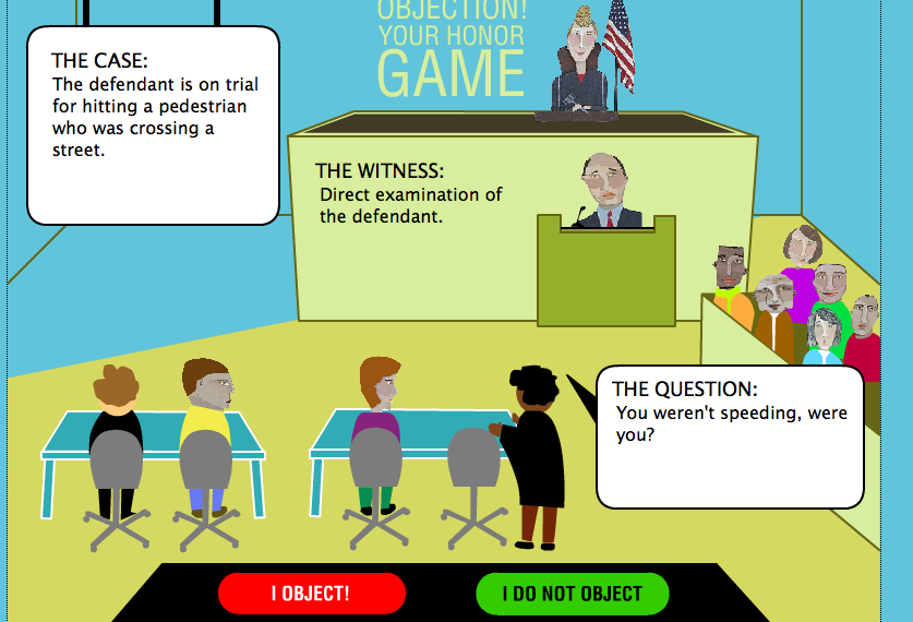 Game Design - Legal Games - Texas LEgal Education - Evidence game Objection your honor Screen Shot 2014-10-20 at 4.03.41 PM