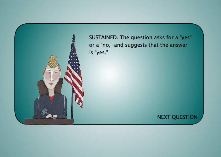 Game Design - Legal Games - Texas LEgal Education - Evidence game Objection your honor Screen Shot 2014-10-20 at 5.57.23 PM