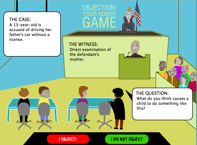 Game Design - Legal Games - Texas LEgal Education - Evidence game Objection your honor Screen Shot 2014-10-20 at 6.34.14 PM