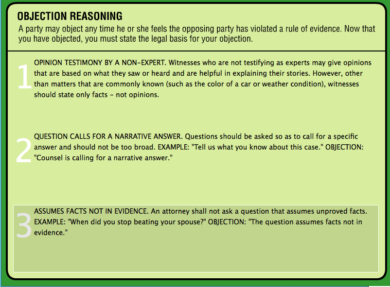 Game Design - Legal Games - Texas LEgal Education - Evidence game Objection your honor Screen Shot 2014-10-20 at 6.34.25 PM