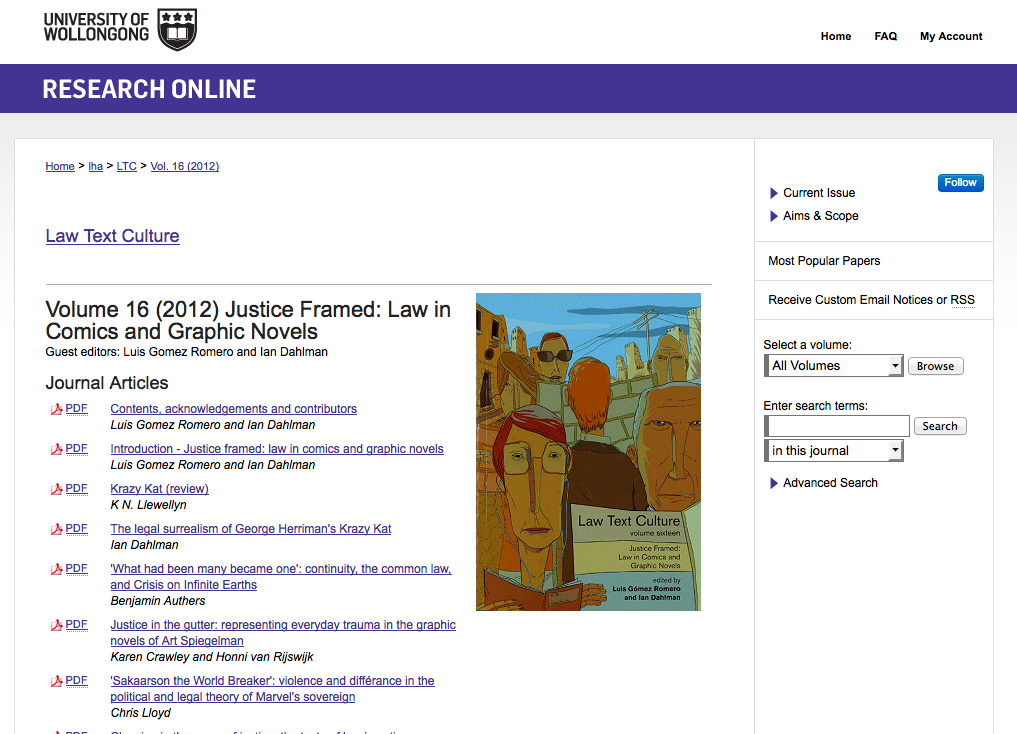 Open Law Lab - Law Text Culture - Justice Framed - Law in Comics