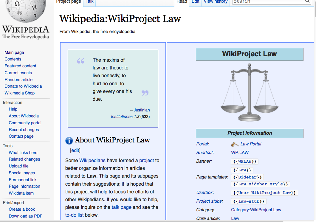 Open Law Lab - Legal content on Wikipedia - WikiProject Law