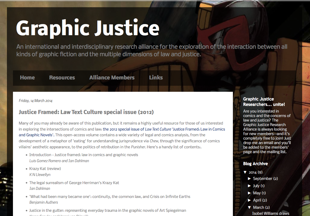 Graphic Justice website - Open Law Lab