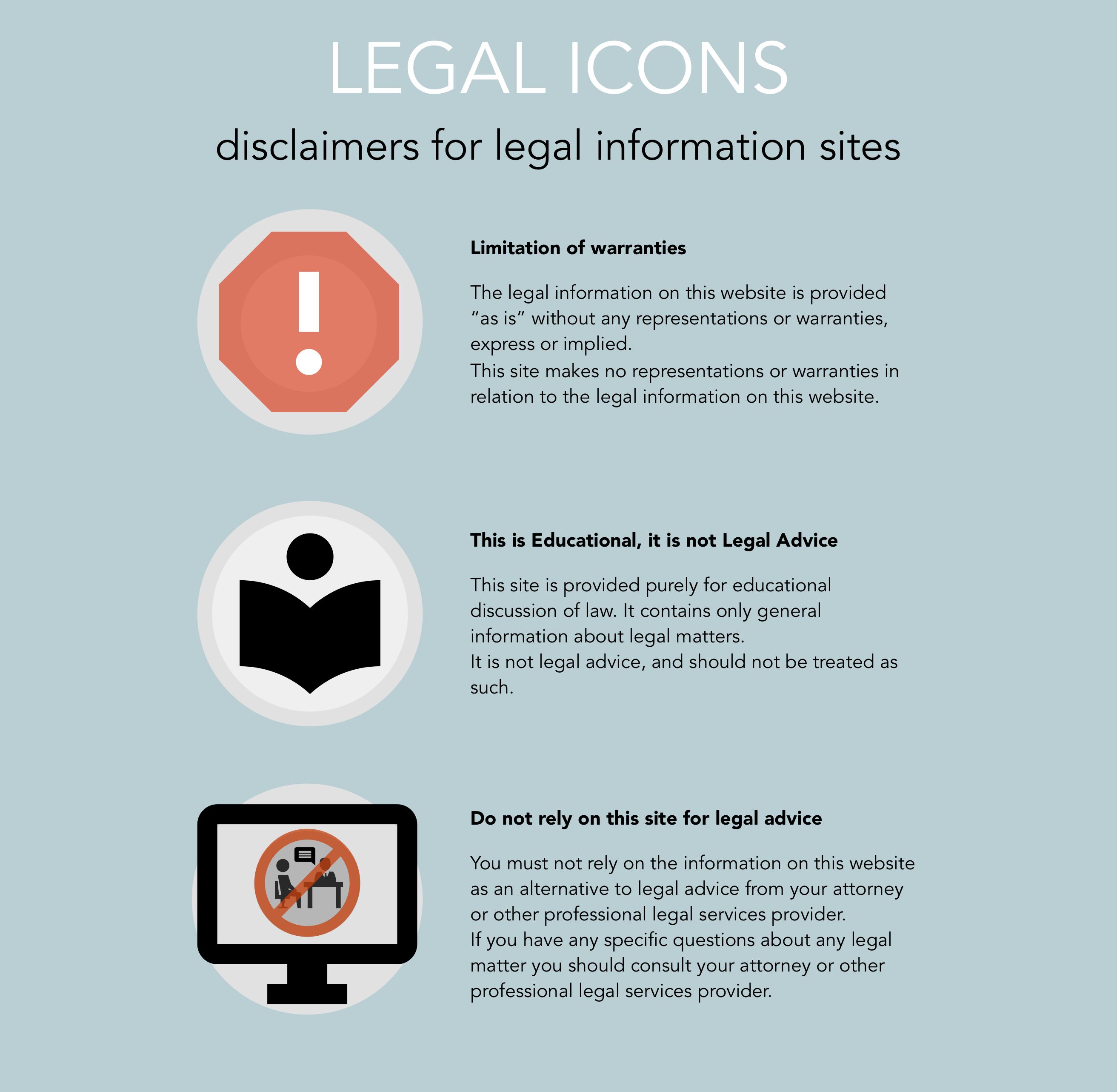 Legal Icons - website warnings - not legal advice