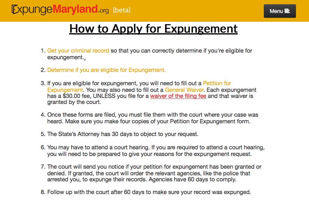 National Expungment Project - ExpungeMaryland - crim justice app - Screen Shot 2015-04-06 at 1.56.51 PM