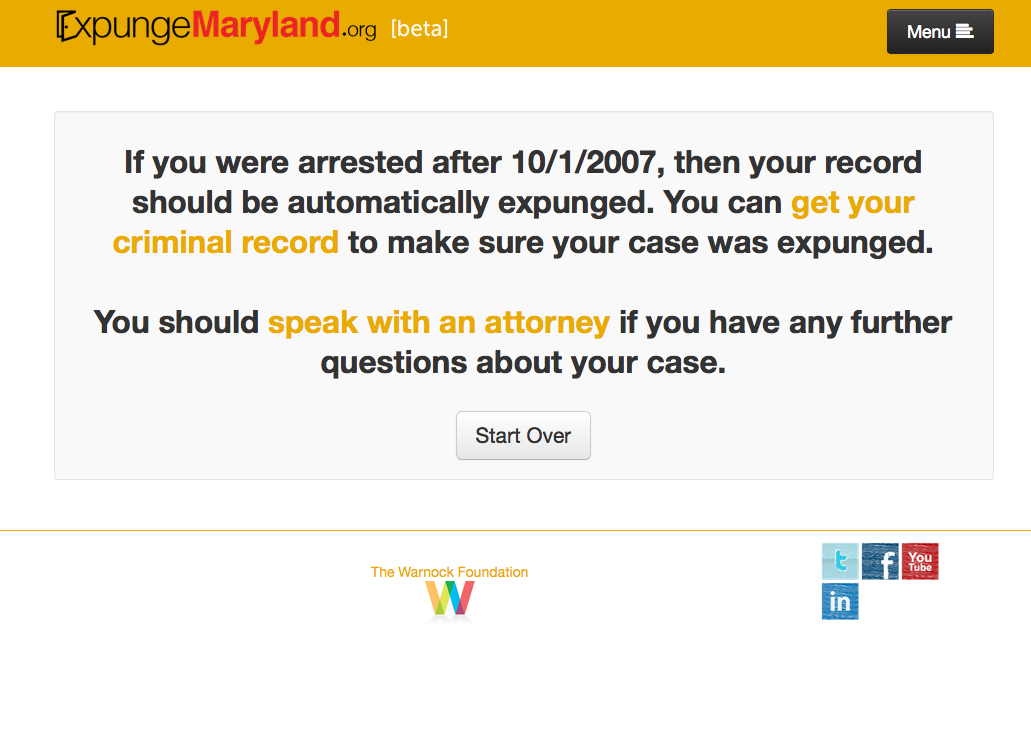 National Expungment Project - ExpungeMaryland - crim justice app - Screen Shot 2015-04-06 at 1.57.22 PM