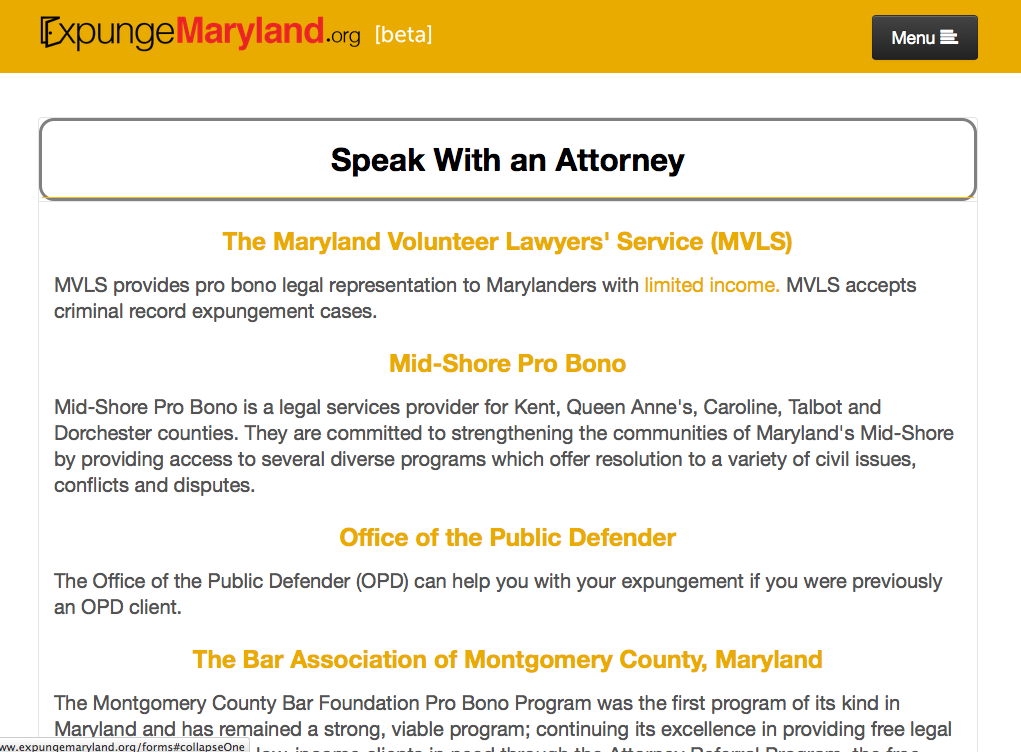 National Expungment Project - ExpungeMaryland - crim justice app - Screen Shot 2015-04-06 at 1.57.50 PM