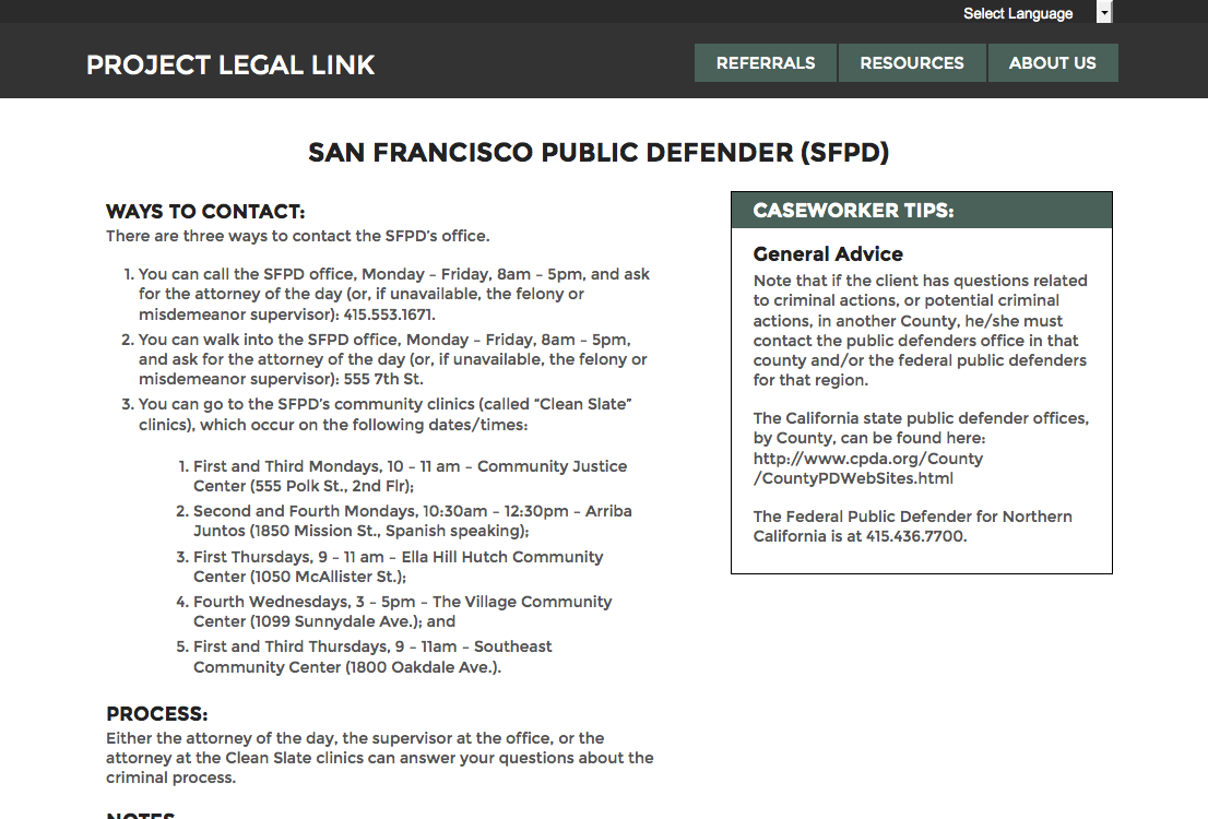 Project Legal Link - coordinating social and legal services - open law lab - Screen Shot 2015-04-24 at 10.34.40 PM